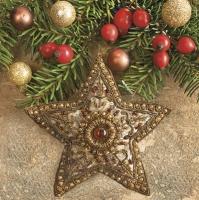 Servietten 33x33 cm - Baroque Star and Holly Berries