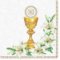 Servietten 33x33 cm - Holy Communion with Lilies