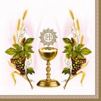 Servietten 33x33 cm - Kelch mit Trauben und Weizenrosa