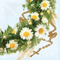 Servietten 33x33 cm - Communion with Daisy Wreath Blue