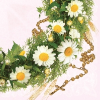 Servietten 33x33 cm - Communion with Daisy Wreath Pink