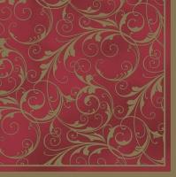 Servietten 33x33 cm - Red & Gold