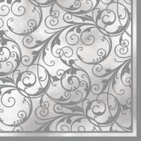 Servietten 33x33 cm - White & Silver