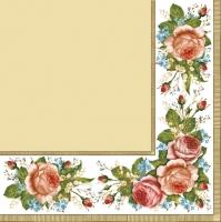 Servietten 33x33 cm - Vintage Rosen Creme