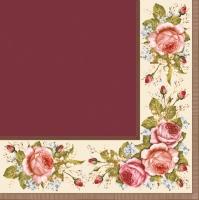 Servietten 33x33 cm - Vintage Rosen Claret