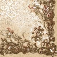 Servietten 33x33 cm - Floral Frame Pattern Red