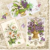 Servietten 33x33 cm - Veilchen von der Postkarte