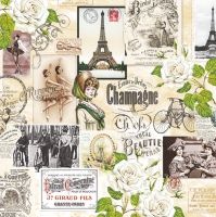 Servietten 33x33 cm - Vintage Collage Paris