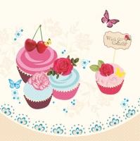 Servietten 33x33 cm - Cupcakes & Cocktails