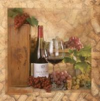 Servietten 33x33 cm - Wein und Korken