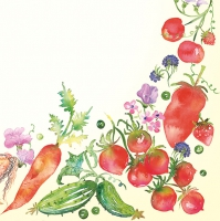 Servietten 33x33 cm - Border of Watercolour Vegetable