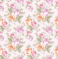 Servietten 33x33 cm - Pastel Roses Wallpaper