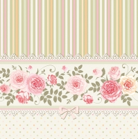 Servietten 33x33 cm - English Roses and Stripes
