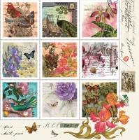 Servietten 33x33 cm - Vintage Style Stamps
