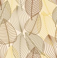 Servietten 33x33 cm - Blätter zeichnen