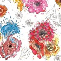 Servietten 33x33 cm - Blumenmischung