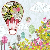 Servietten 33x33 cm - Flowers Balloon Ride