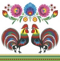 Servietten 33x33 cm - Two Folk Roosters