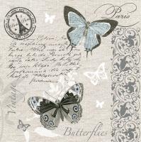 Servietten 33x33 cm - Schmetterlinge Postkarte