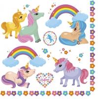 Servietten 33x33 cm - Rainbow Ponies