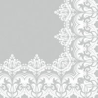 Servietten 33x33 cm - Ornament Border Grey