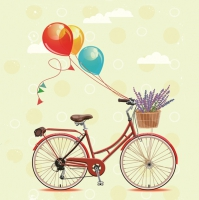 Servietten 33x33 cm - Bicycle with Balloons