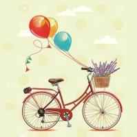 Servietten 33x33 cm - Fahrrad mit Luftballons