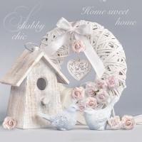 Servietten 33x33 cm - Shabby Chic with Birdhouse