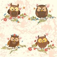 Servietten 33x33 cm - Brown Owls on Twigs