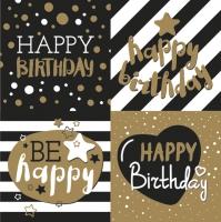 Servietten 33x33 cm - Golden Happy Birthday