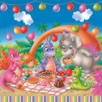 Servietten 33x33 cm - Dinosaur Picnic Party