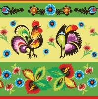 Servietten 33x33 cm - Folklore Roosters Green & Cream