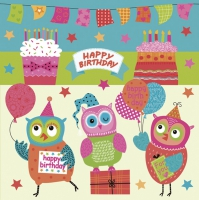 Servietten 33x33 cm - Happy Owls Birthday Party