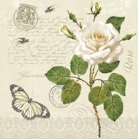 Servietten 33x33 cm - Vintage Rosenzweig mit Schmetterling