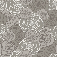 Servietten 33x33 cm - Graphic Roses Pattern Grey (pearl effect)