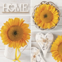 Servietten 33x33 cm - Sunflowers Collage with Hearts