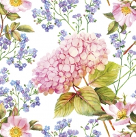 Servietten 33x33 cm - Pink Hydrangea and Forget-Me-Not Flowers