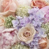 Servietten 33x33 cm - Pastelfarbener Bund von Sommerblumen