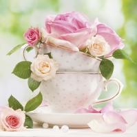 Servietten 33x33 cm - Cup of Roses