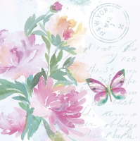 Servietten 33x33 cm - Pink Watercolour Flowers with Butterfly