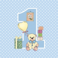 Servietten 33x33 cm - First Birthday with Teddy Blue