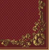 Servietten 33x33 cm - Golden Frame and Net on Crimson