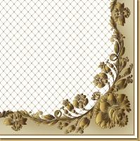 Servietten 33x33 cm - Golden Frame and Net on Beige