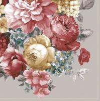 Servietten 33x33 cm - Bunch of Flowers with Mandala Warm Grey