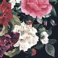 Servietten 33x33 cm - Painted Baroque Bouquet on Black