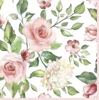 Servietten 33x33 cm - Watercolour Roses with Hydrangea