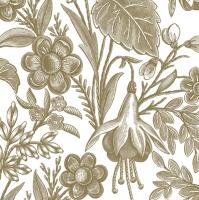 Servietten 33x33 cm - Floral Illustration Gold