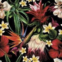Servietten 33x33 cm - Paradise Flowers on Black
