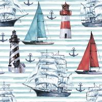 Servietten 33x33 cm - Watercolour Sailing Motifs