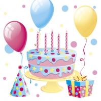 Servietten 33x33 cm - Bday Cake with Balloons